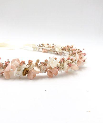 Couronne de fleurs stabilisées Candi aux tons roses