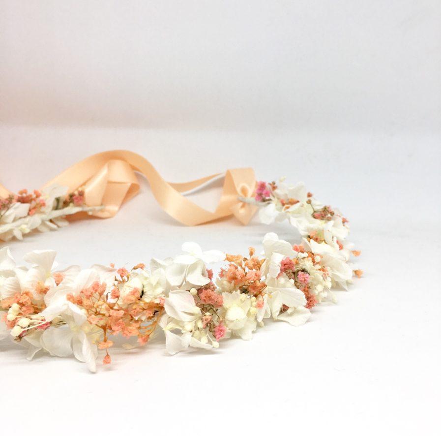 Couronne de fleurs Candi aux tons rose poudré - Les Fleurs Dupont