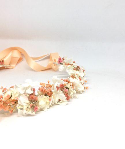 Couronne de fleurs Candi aux tons rose poudré - Mariées romantiques