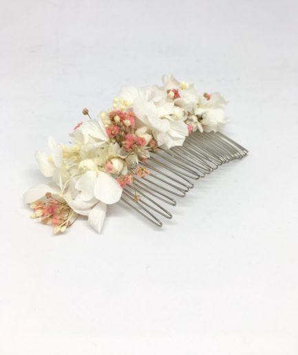 Peigne de fleurs Candi pour un mariage romantique et champêtre - Tons rose poudré et pêche - Les Fleurs Dupont