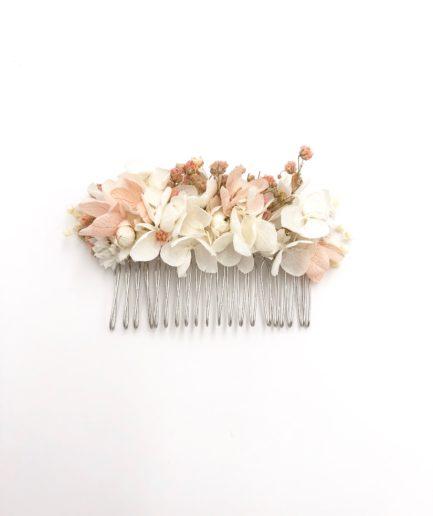 Peigne de fleurs Candi aux tons roses
