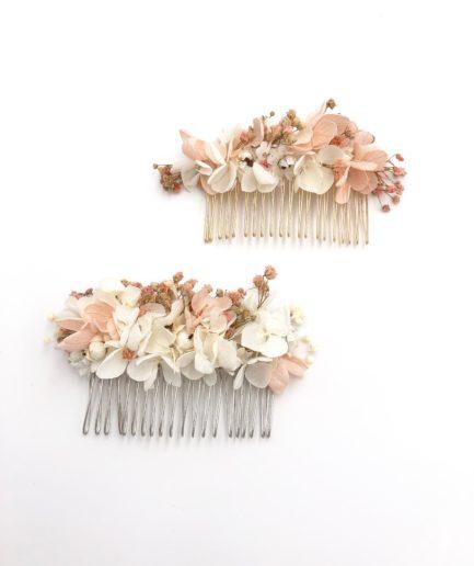 Peigne de mariage Candi en fleurs stabilisées roses