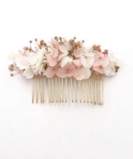peigne de fleurs Candi aux tons roses pour la mariée