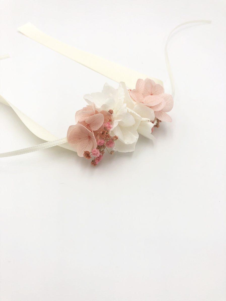 Bracelet en fleurs stabilisées roses Candi