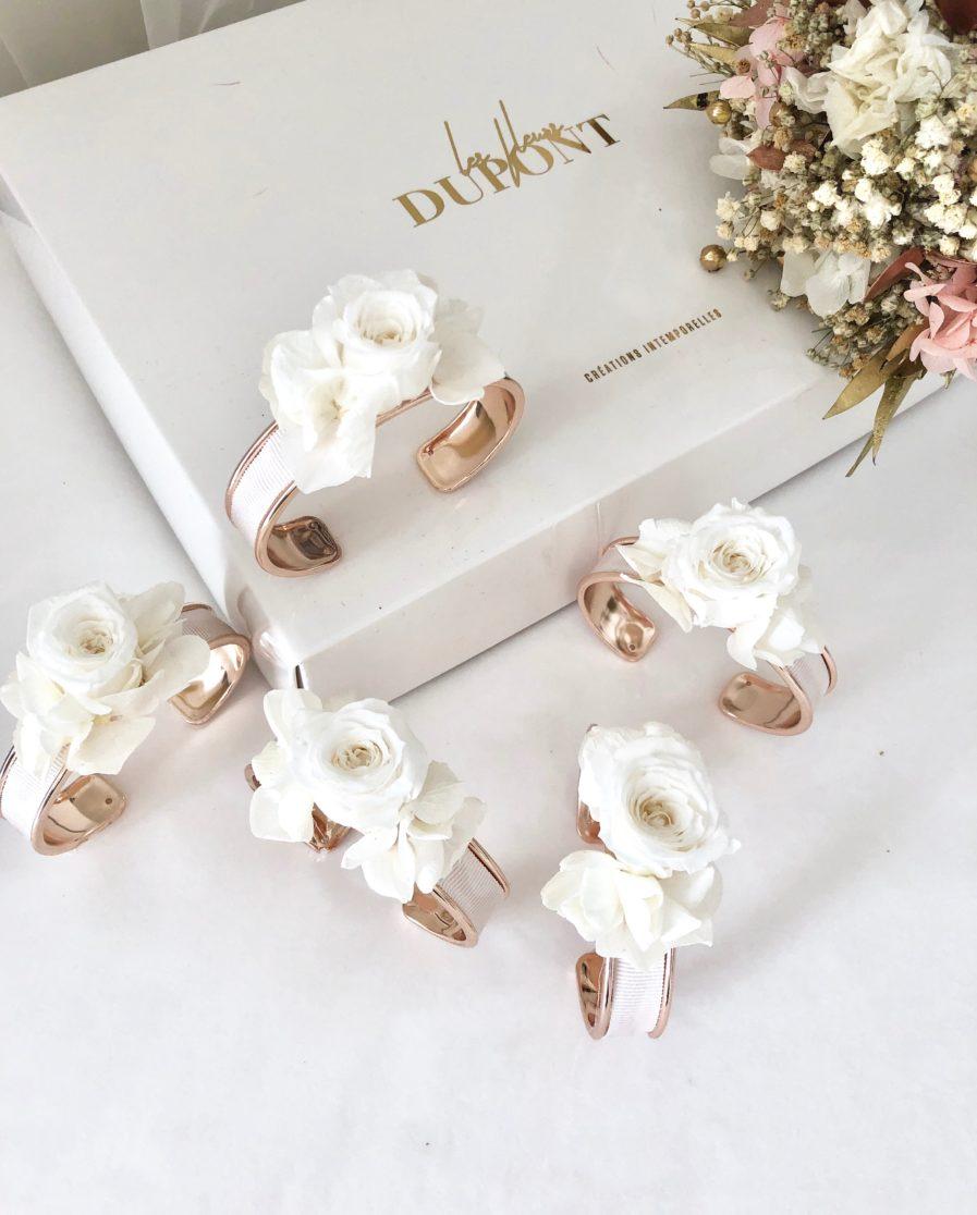 Bracelet jonc fleuri en fleurs stabilisées blanches Béatrice