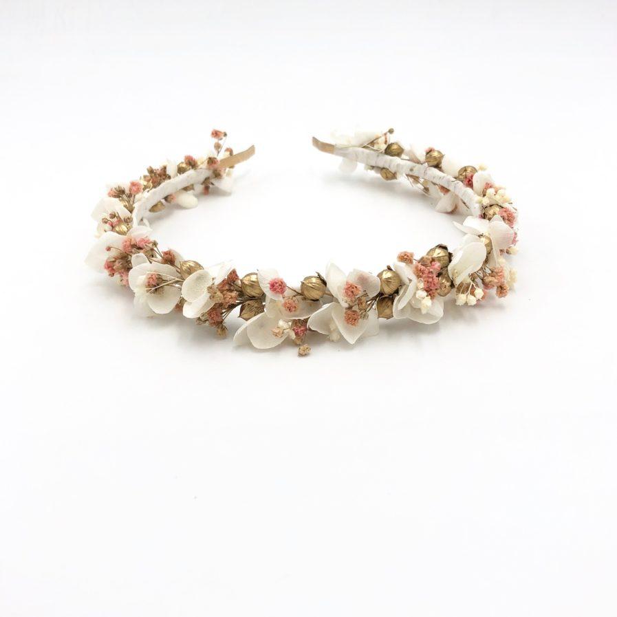 Headband de fleurs stabilisées Candi doré - Les Fleurs Dupont
