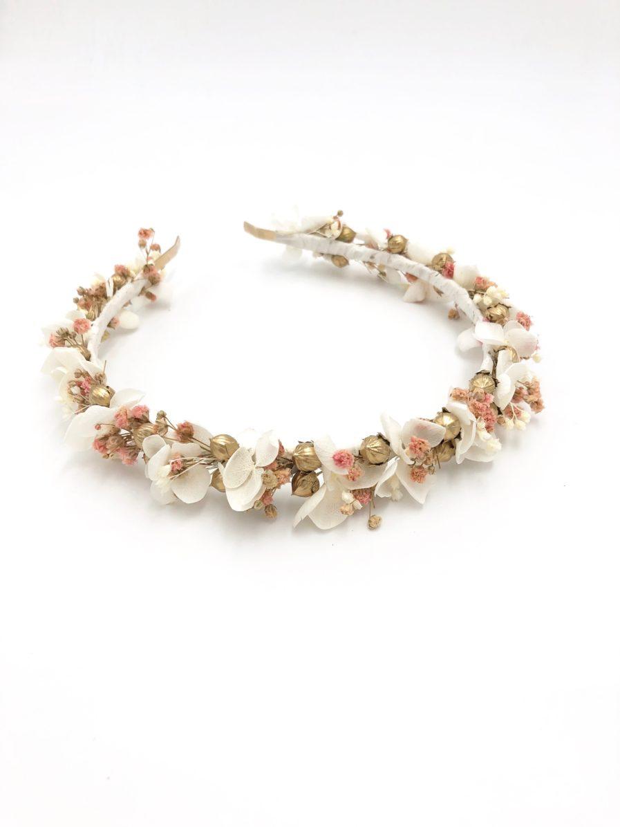 Headband de mariage Candi doré en fleurs stabilisées