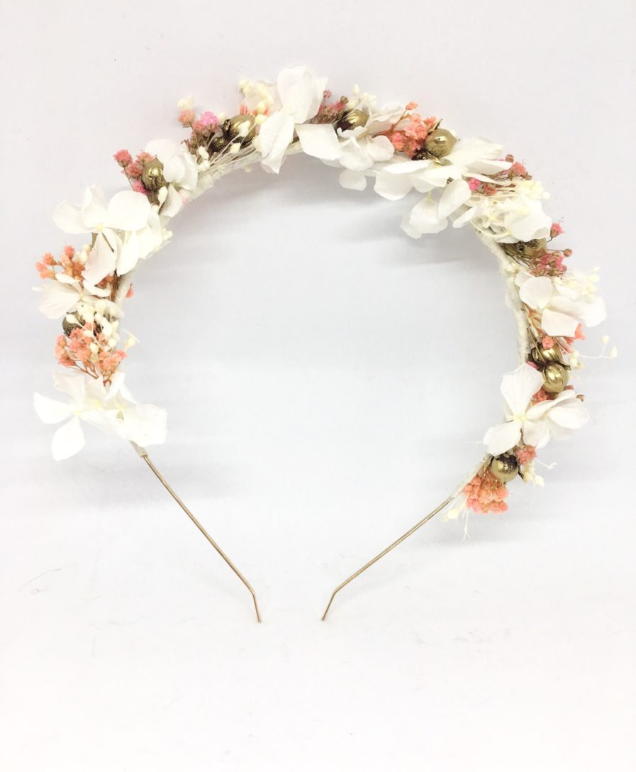 Headband de mariage Candi Doré - Serre-tête en fleurs naturelles - Les Fleurs Dupont