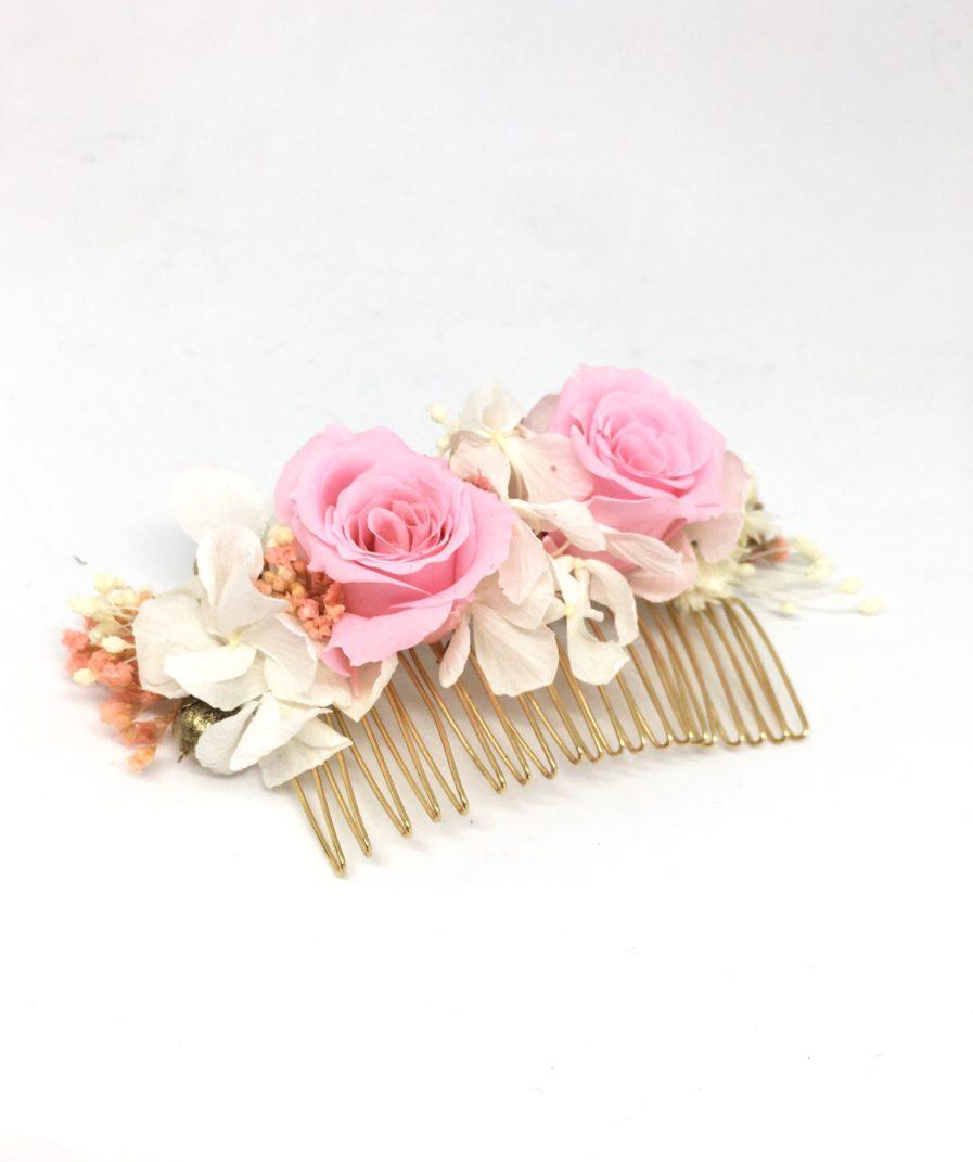 Peigne de fleurs Lima - Rose de couleur rose - Collection ROmantique