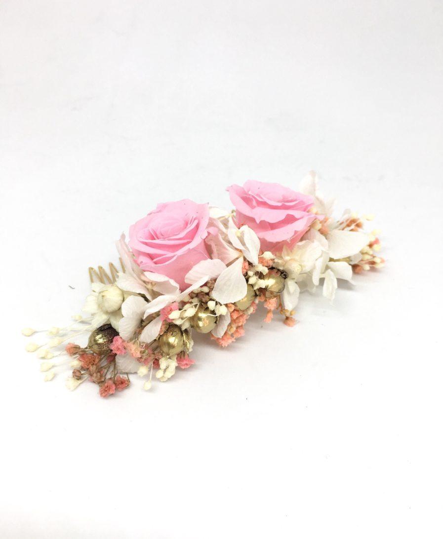 Peigne de fleurs Lima - Rose de couleur rose - Les Fleurs Dupont