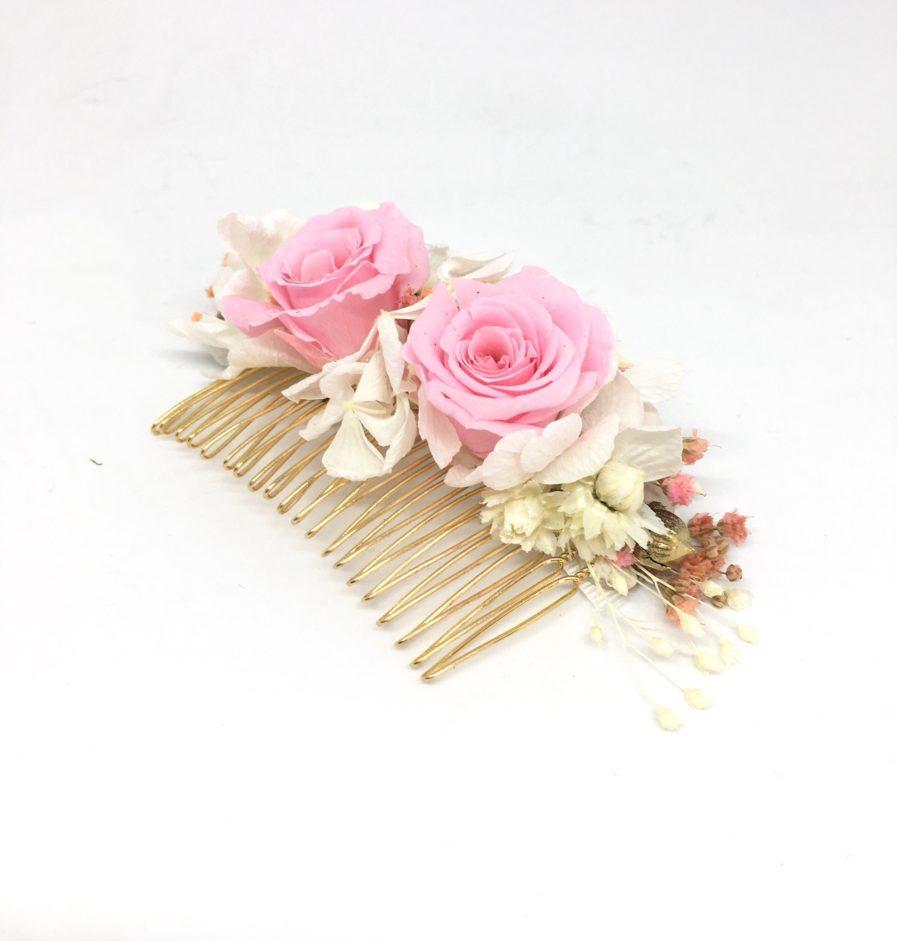 Peigne de fleurs Lima - Rose de couleur rose
