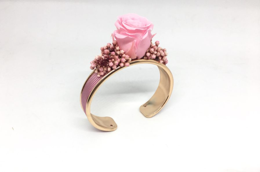 Bracelet jonc fleuri Dorothée - Accessoire pour demoiselles d'honneur - Les Fleurs Dupont