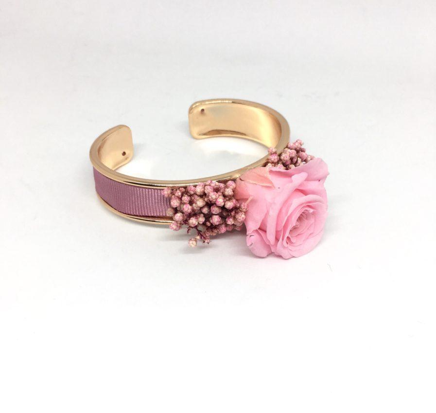 Bracelet jonc fleuri Dorothée - Accessoire pour demoiselles d'honneur en fleurs naturelles