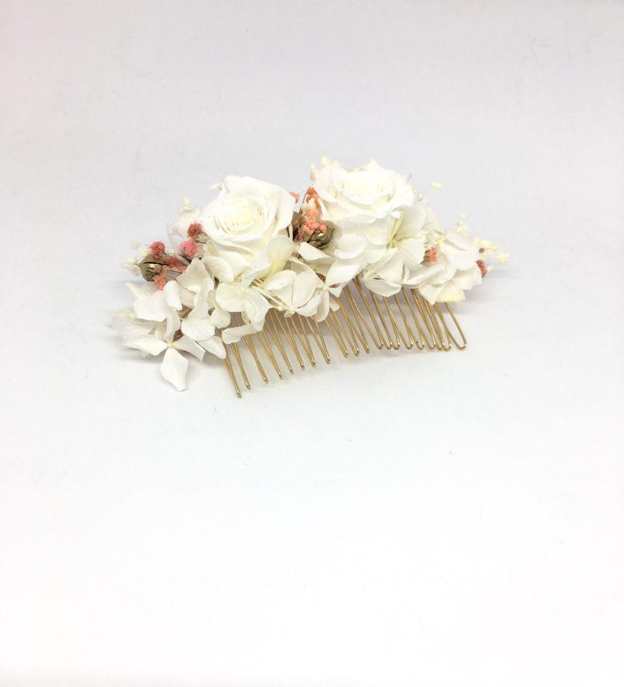 Peigne de fleurs Lima - Rose de couleur blanche