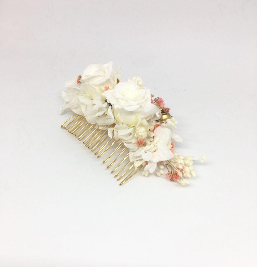Peigne de fleurs Lima - Rose de couleur blanche - Les Fleurs Dupont