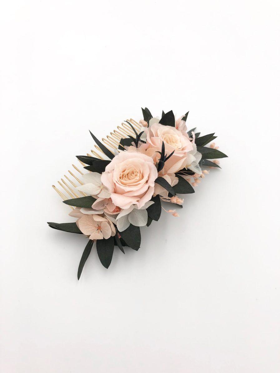 Peigne de fleurs stabilisées Lima pour la mariée