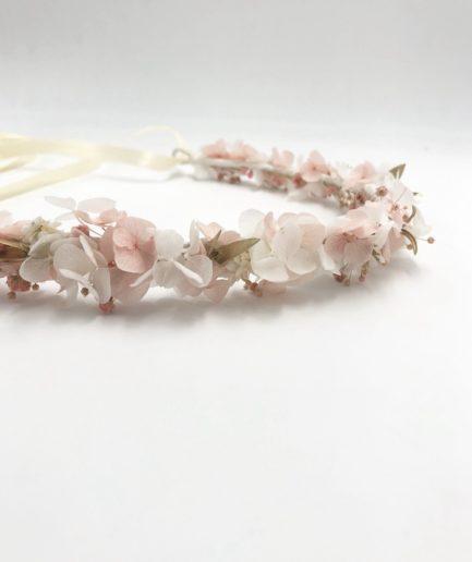 Couronne de fleurs naturelles stabilisées Candi dorée pour la mariée romantique
