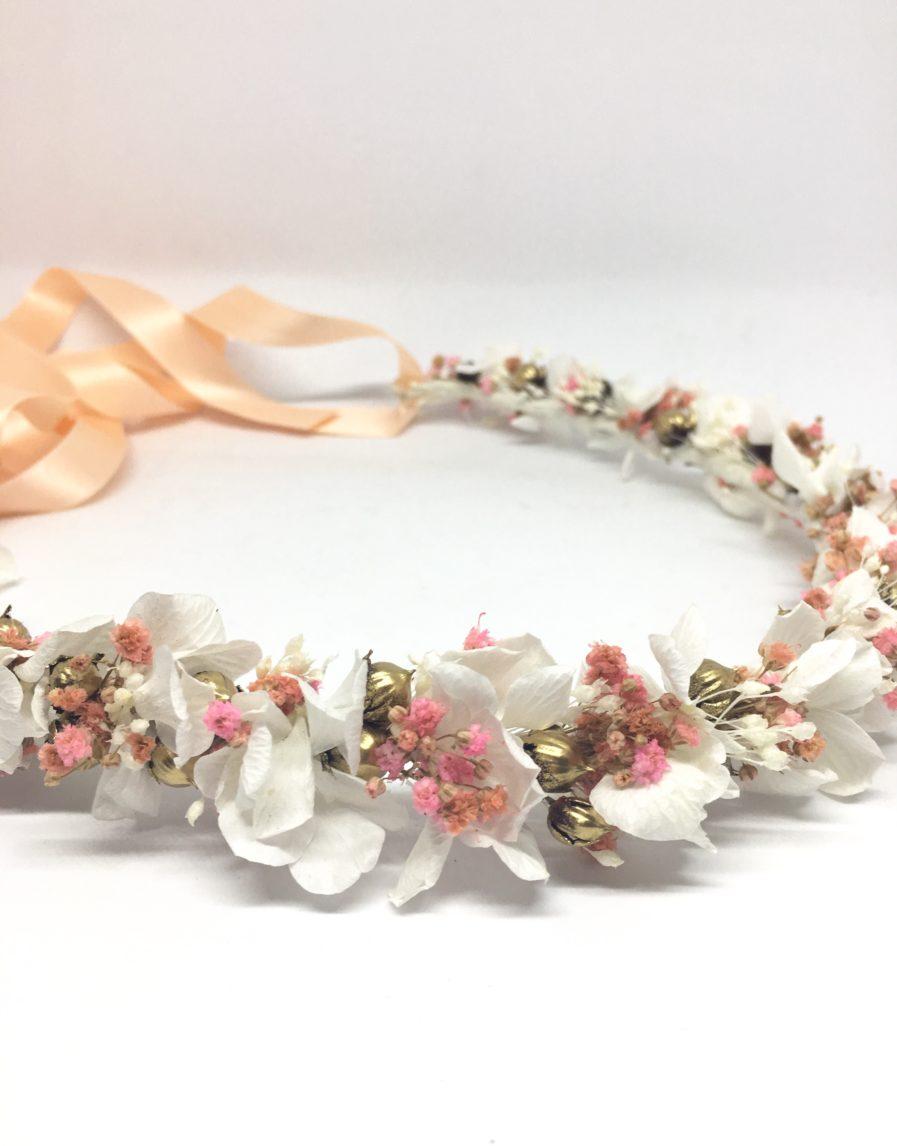 Couronne de fleurs Candi Dorée - pour un mariage en fleurs séchées - Tons rose et doré