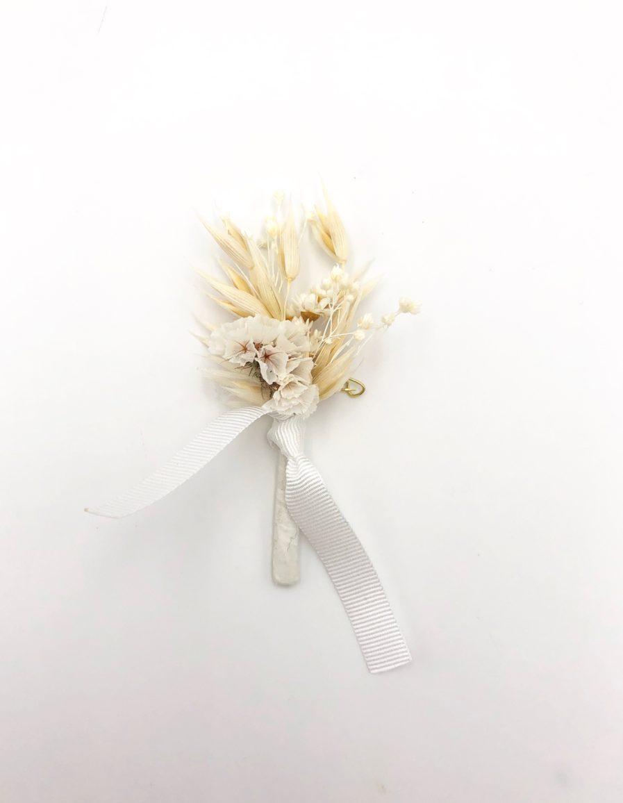 Boutonnière de mariage Auguste en flerus séchées