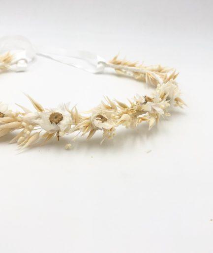 Couronne de fleurs séchées Auguste - tons ivoire