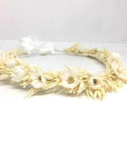 Couronne de fleurs séchées Auguste - Accessoire de cheveux pour la mariée chic et champêtre