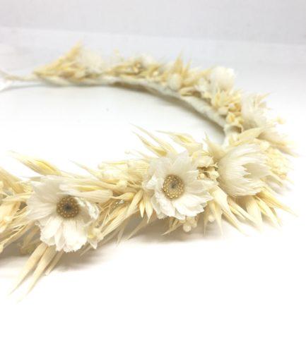 Couronne de fleurs séchées Auguste - Tons blonds et crème - Champêtre chic