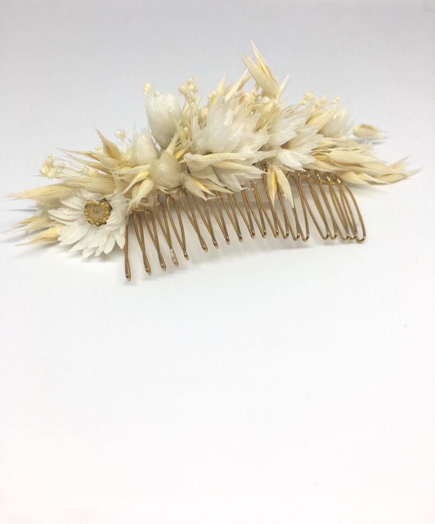 Peigne en fleurs séchées Auguste - Accessoire de cheveux pour la mariée chic et champêtre
