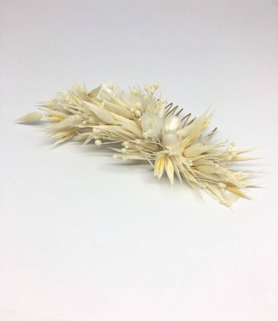 Peigne en fleurs séchées Auguste - Accessoire de cheveux pour la mariée en fleurs séchées