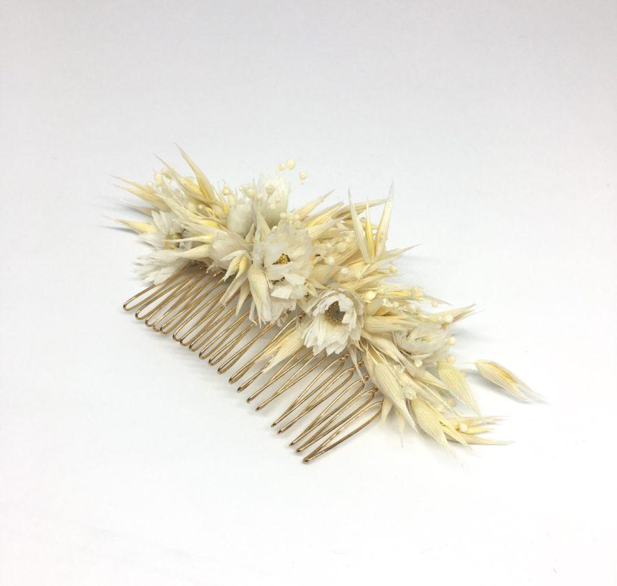 Peigne en fleurs séchées Auguste - Accessoire de cheveux pour la mariée