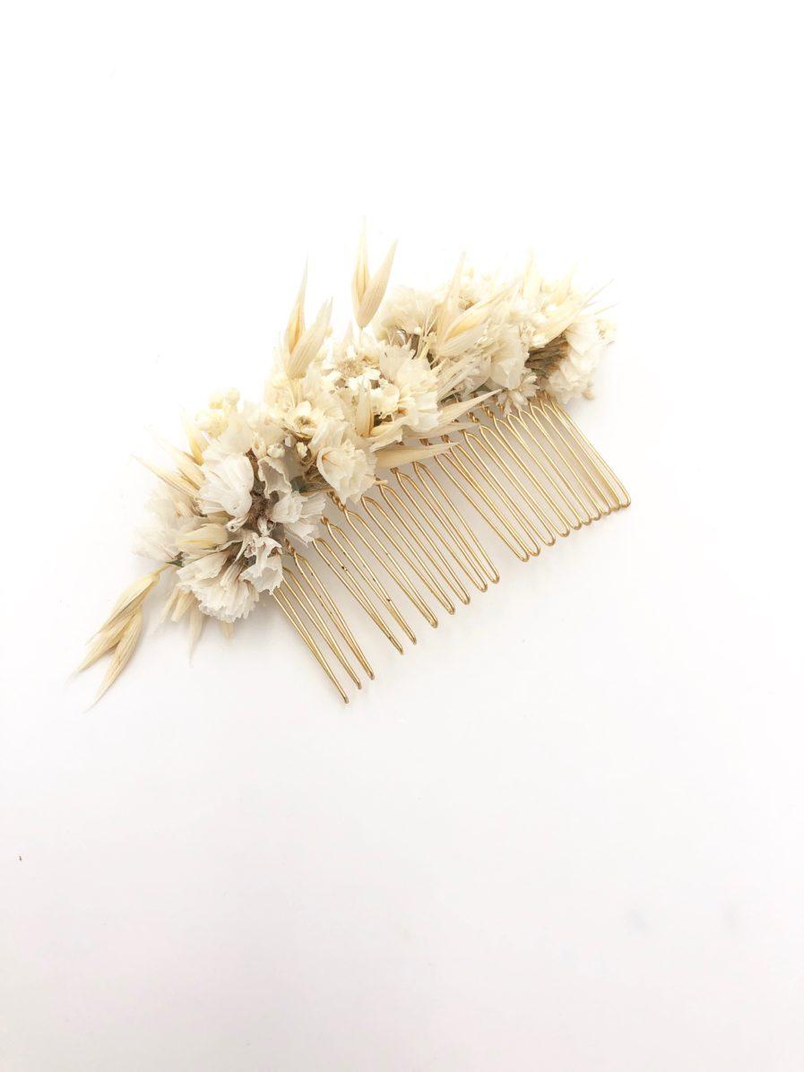 Peigne de fleurs séchées Auguste aux tons doux ivoire et beige