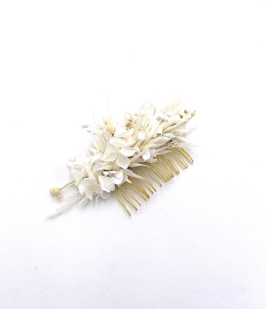 Peigne de fleurs séchées Auguste pour la mariée