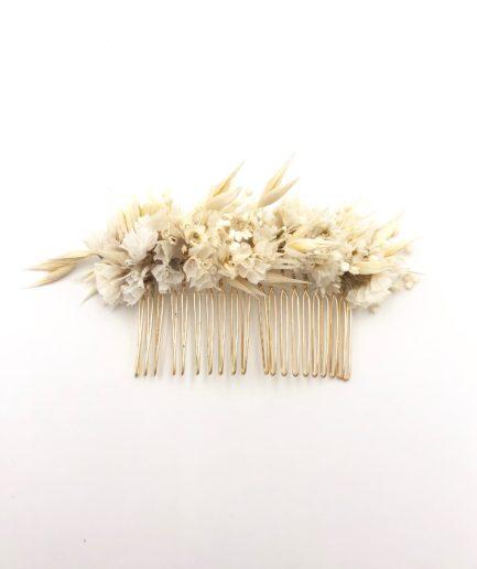 Peigne en fleurs séchées Auguste au style folk et champêtre chic
