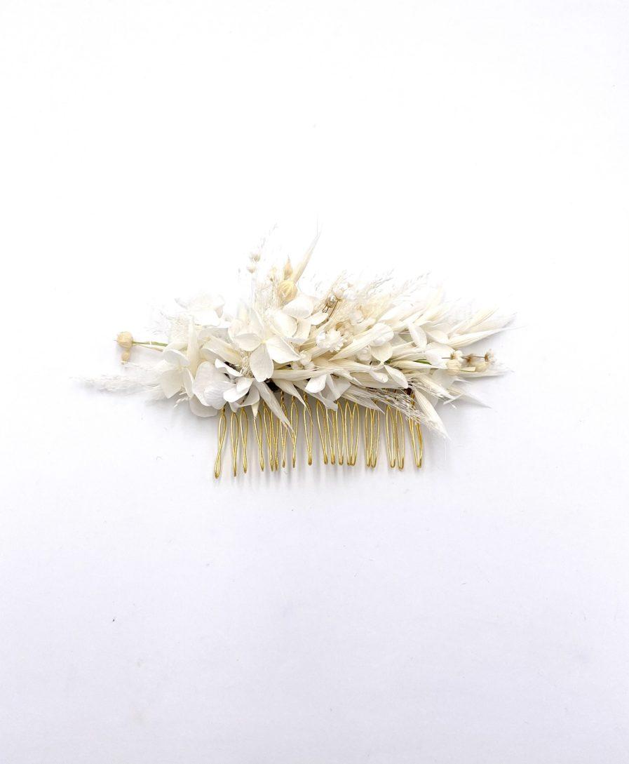 Peigne en fleurs séchées Auguste pour la mariée bohème