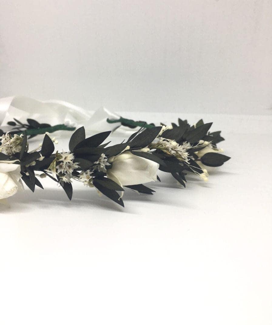 Couronne de fleurs séchées et stabilisées Foglia - Mariage chic et champêtre avec les Fleurs Dupont
