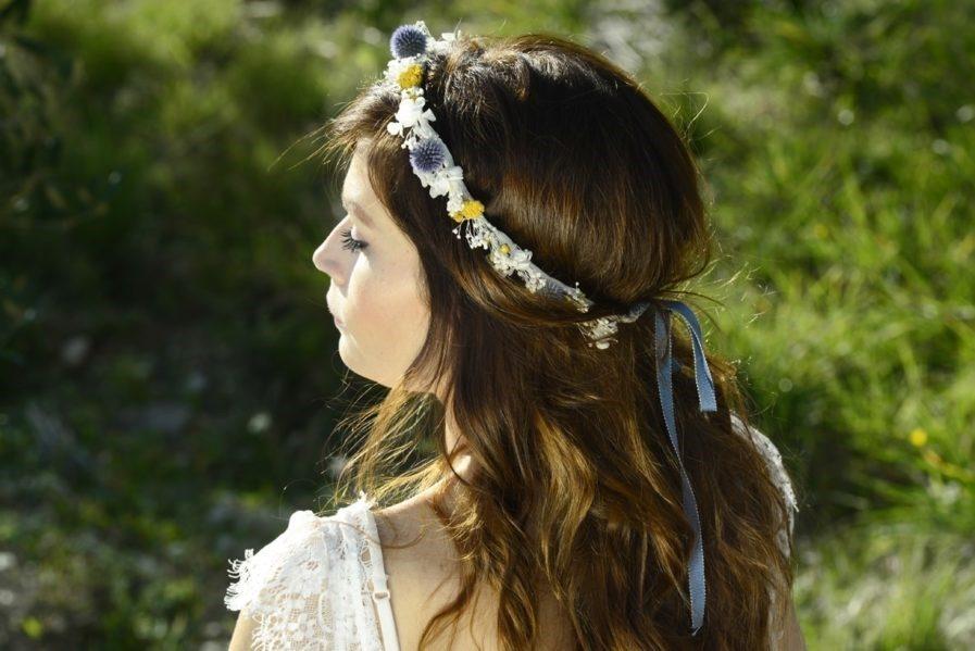 Couronne de mariage en fleurs séchées Violine - Les Fleurs Dupont