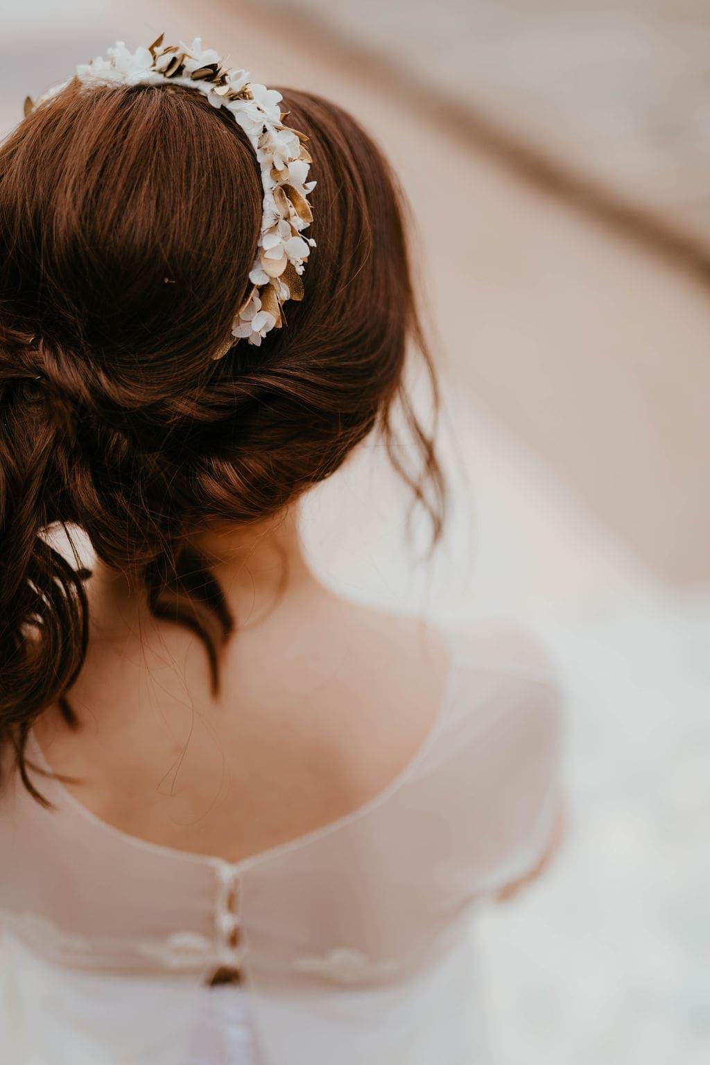 Headband de fleurs Ori - Anaïs Nannini - Les Fleurs Dupont - Serre-tête doré