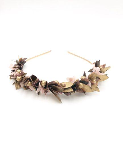 Headband de fleurs Phyra - Tons cuivrés et roses