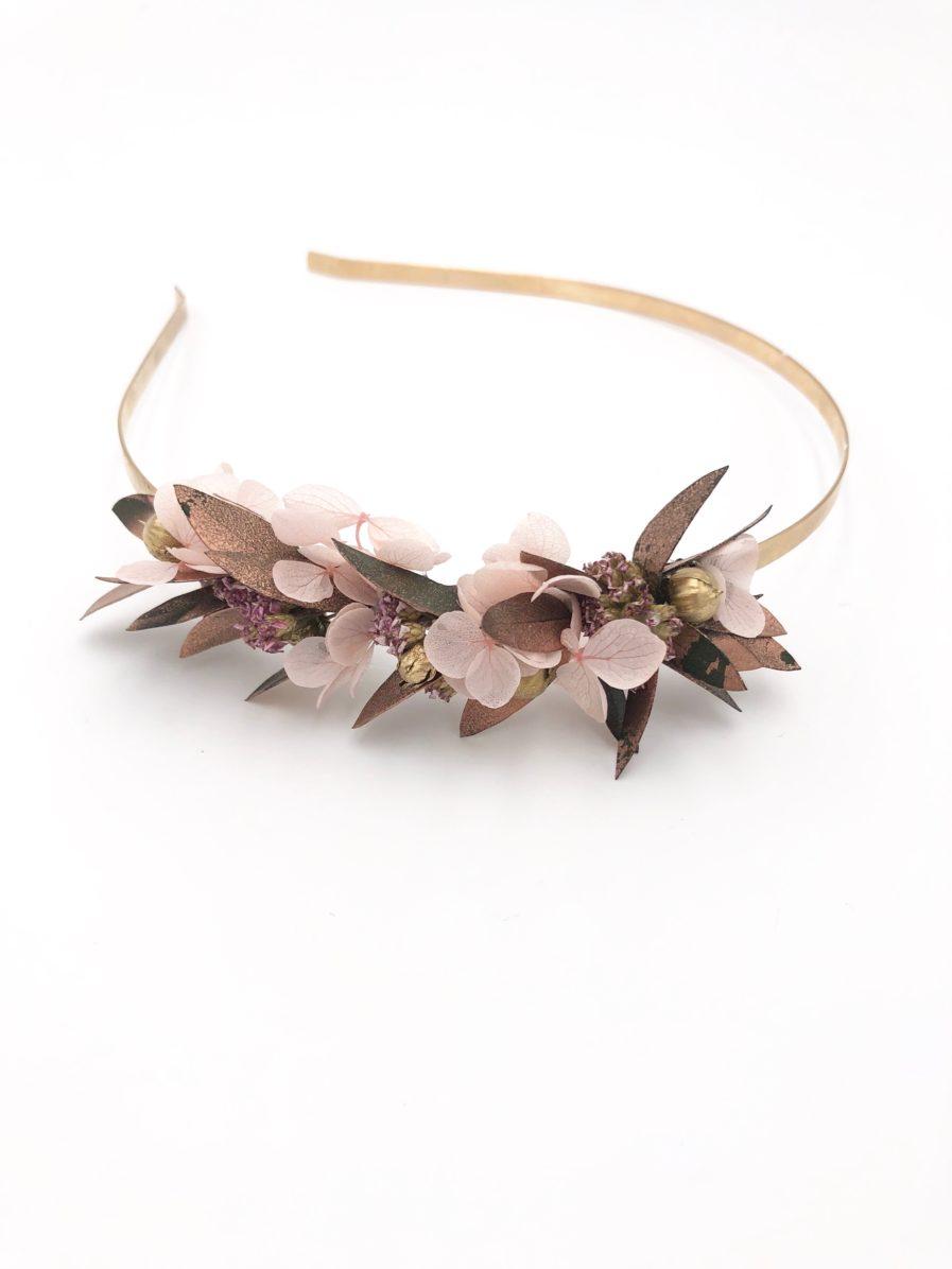 Headband de fleurs Phyra version Mini en fleurs stabilisées