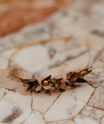 Headband de fleurs Phyra version Mini - Anaïs Nannini - Les Fleurs Dupont - Collection Orichalque
