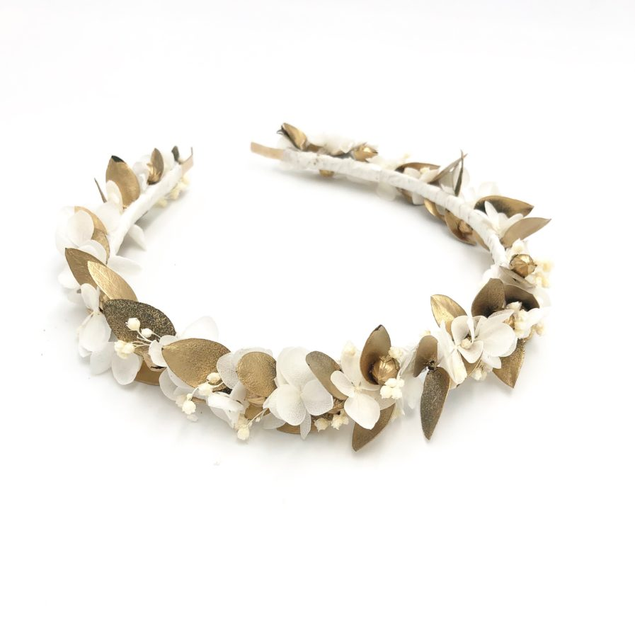 Headband de fleurs stabilisées dorées Ori - Les Fleurs Dupont