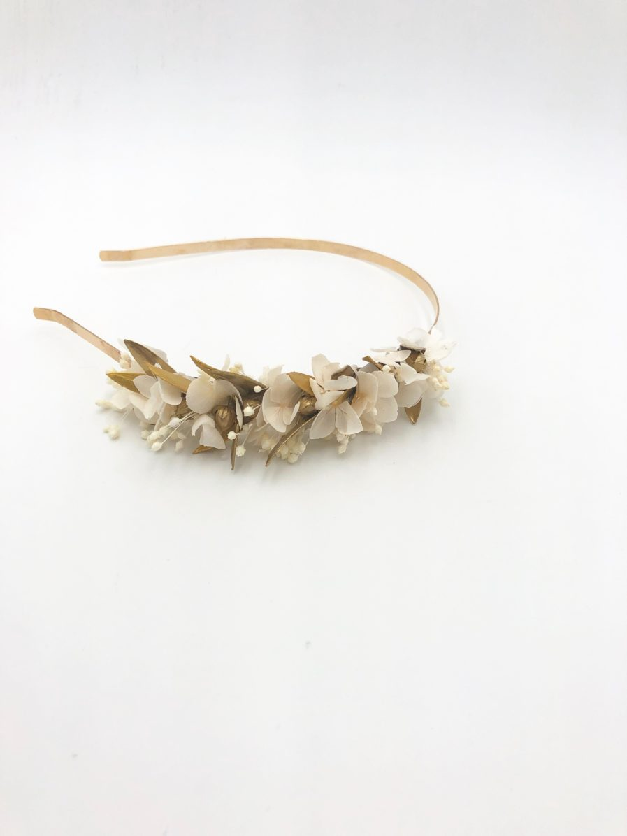 Headband de mariage Ori mini en fleurs stabilisées