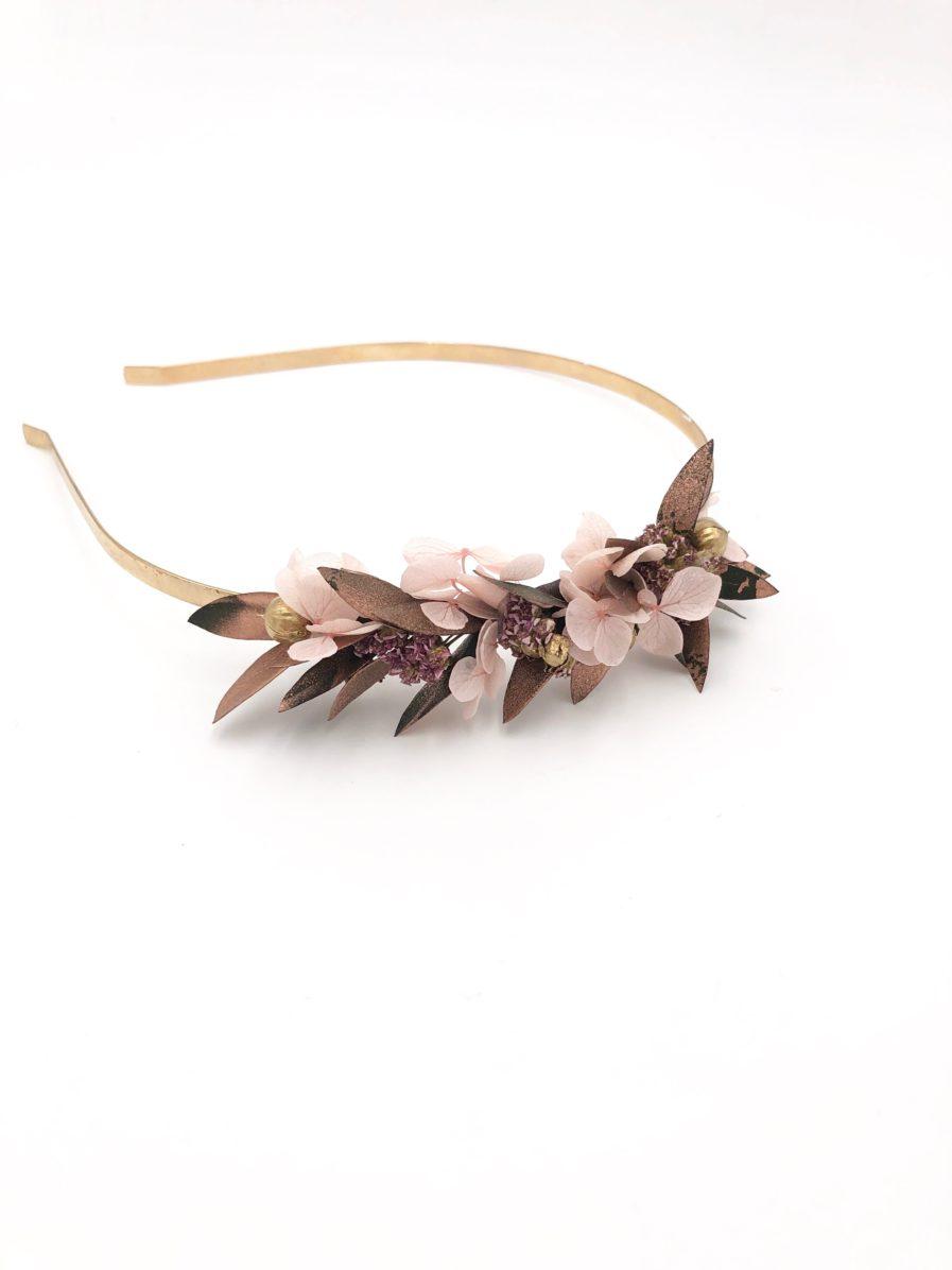 Headband de mariage Phyra version Mini en fleurs stabilisées