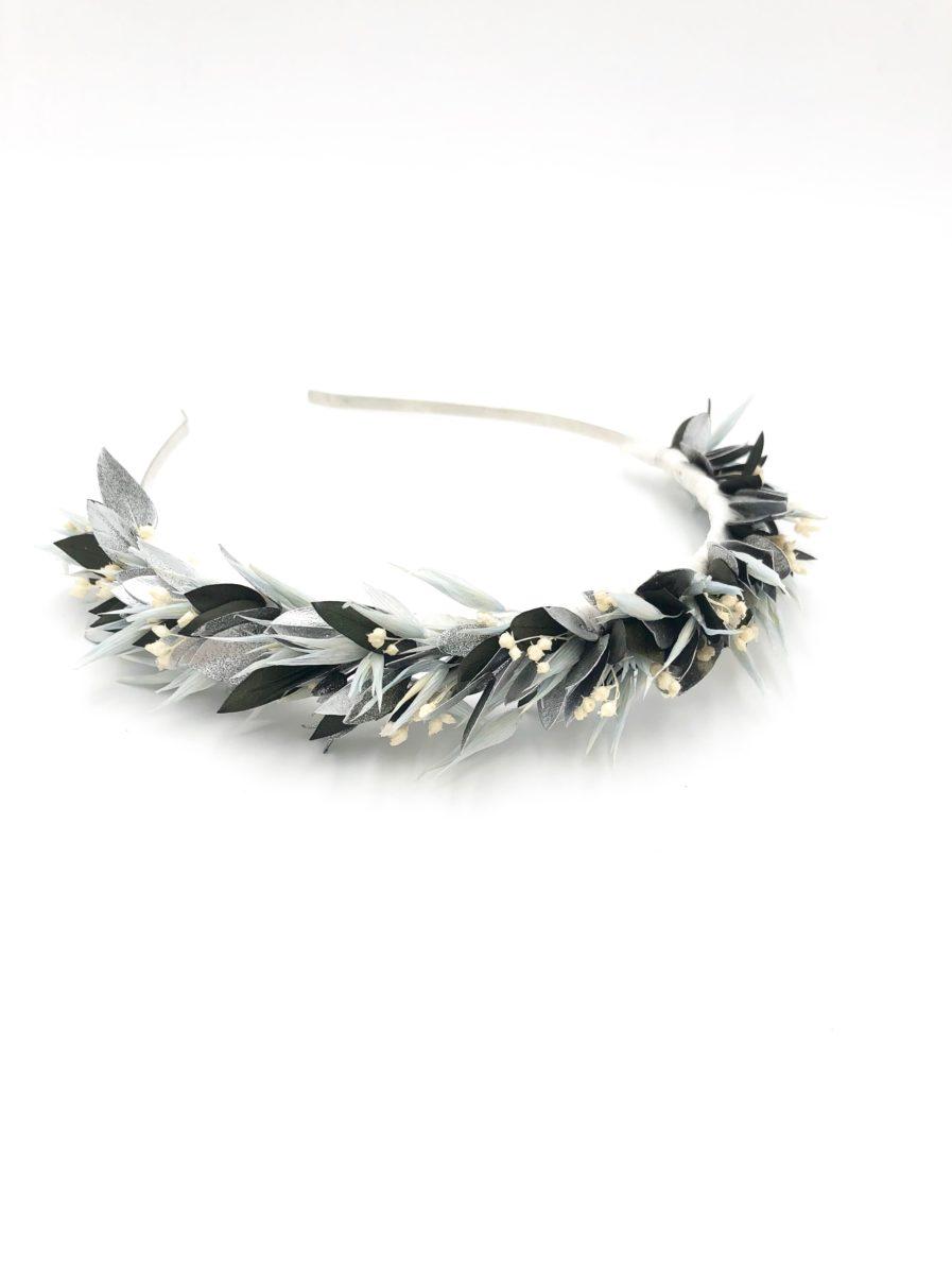 Headband de mariage Turquin en fleurs argentées stabilisées