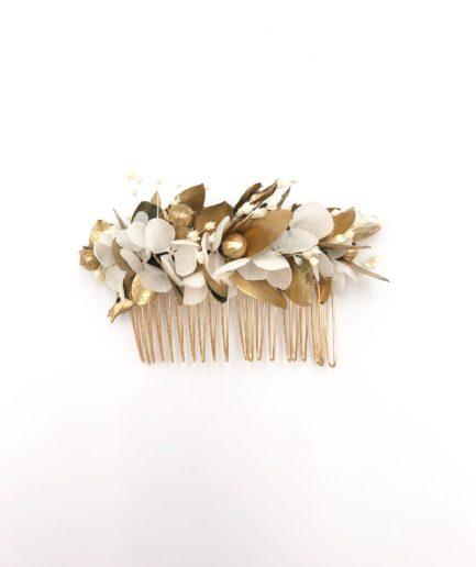Peigne de mariage Ori en fleurs stabilisées dorées