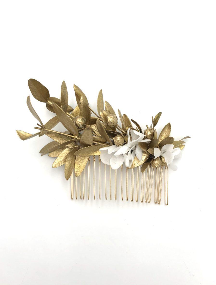 Peigne de fleurs Ori de style antique aux tons dorés