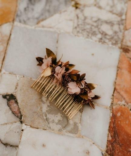 Peigne de fleurs Phyra - Les Fleurs Dupont - Anaïs Nannini - Collection Orichalque