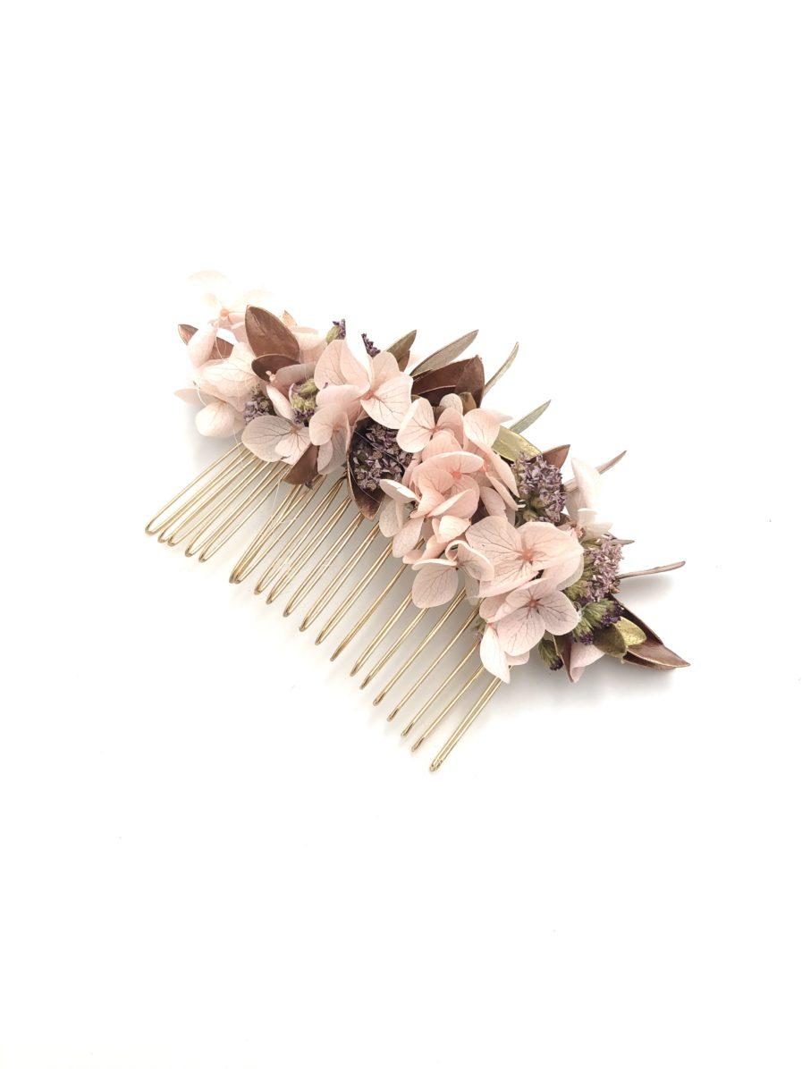 Peigne de fleurs cuivrées Phyra en feuilles stabilisées