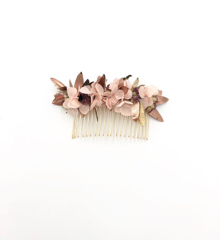 Peigne de fleurs stabilisées Phyra aux tons cuivrés