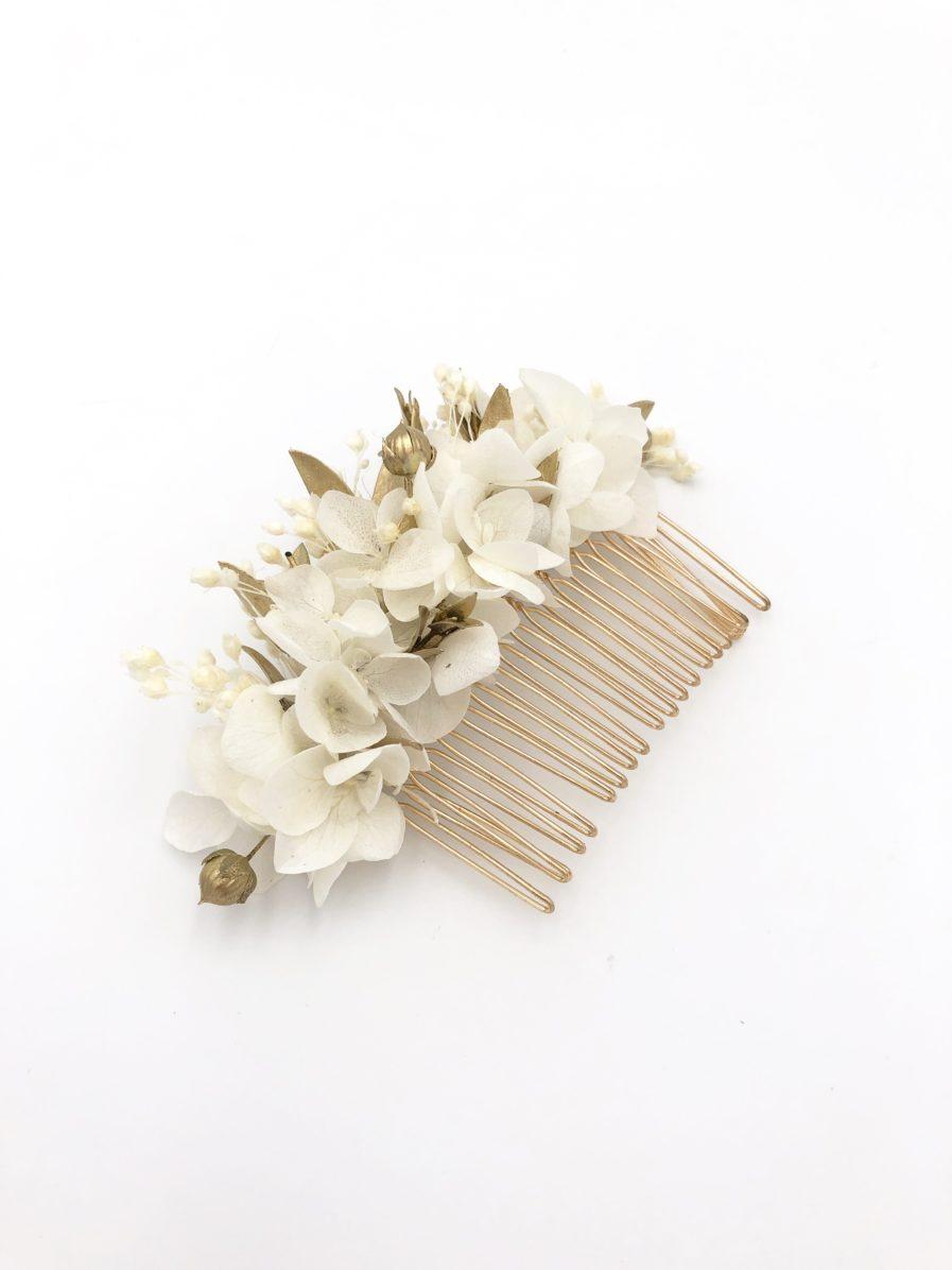 Peigne de fleurs stabilisées dorées Ori et fleurs séchées dorées