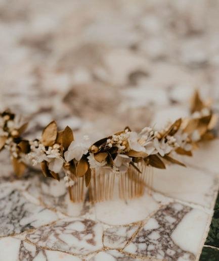 Peigne de mariée Ori long - Anaïs Nannini Photographie - Les Fleurs Dupont - Collection Orichalque
